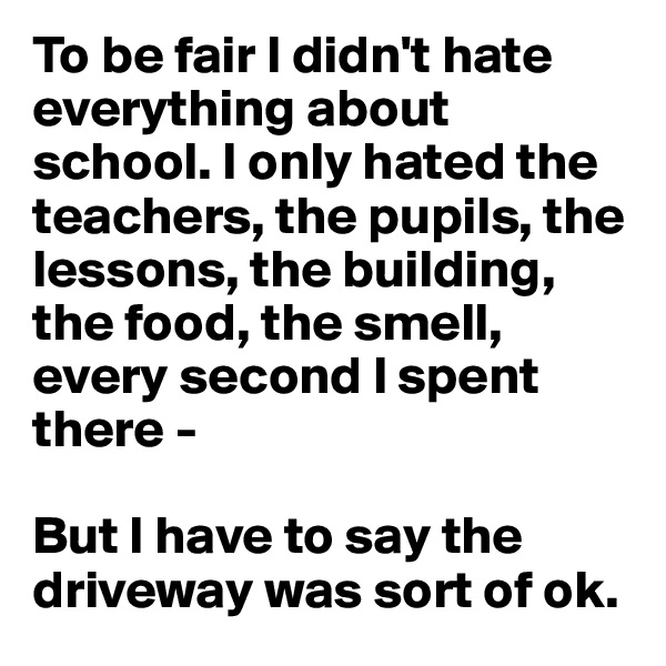 To be fair I didn't hate everything about school. I only hated the teachers, the pupils, the lessons, the building, the food, the smell, every second I spent there -   But I have to say the driveway was sort of ok.