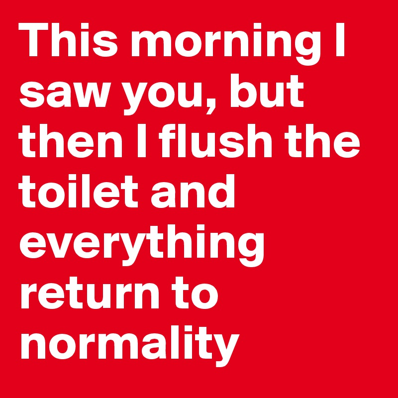 This morning I saw you, but then I flush the toilet and everything return to normality