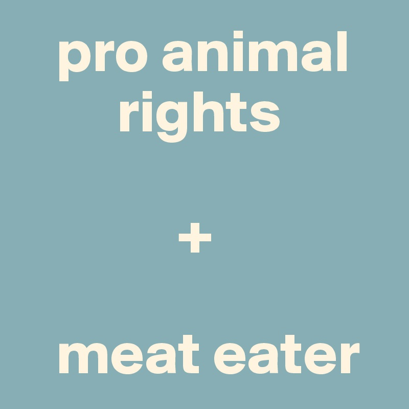 pro animal            rights               +     meat eater