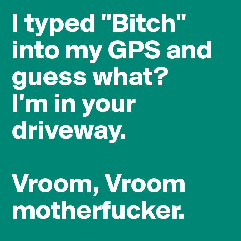 """I typed """"Bitch"""" into my GPS and guess what?  I'm in your driveway.   Vroom, Vroom motherfucker."""