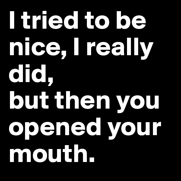 I tried to be nice, I really did,  but then you opened your mouth.