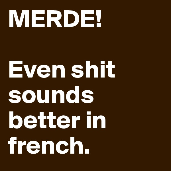 MERDE!  Even shit sounds better in french.