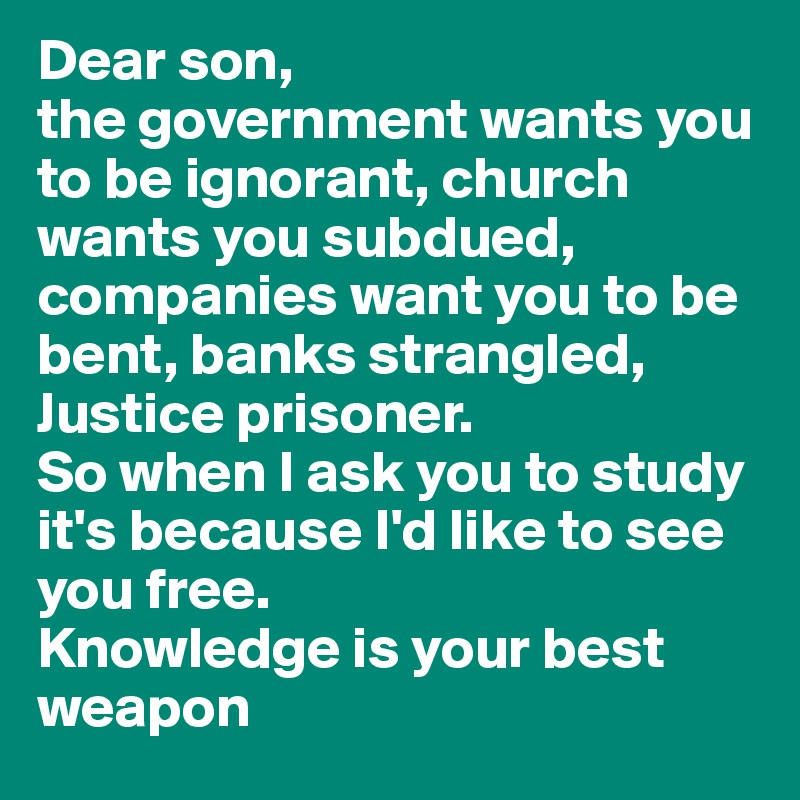 Dear son,  the government wants you to be ignorant, church wants you subdued, companies want you to be bent, banks strangled, Justice prisoner.  So when I ask you to study it's because I'd like to see you free.  Knowledge is your best weapon