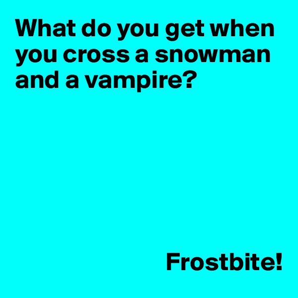 What do you get when you cross a snowman and a vampire?                                    Frostbite!