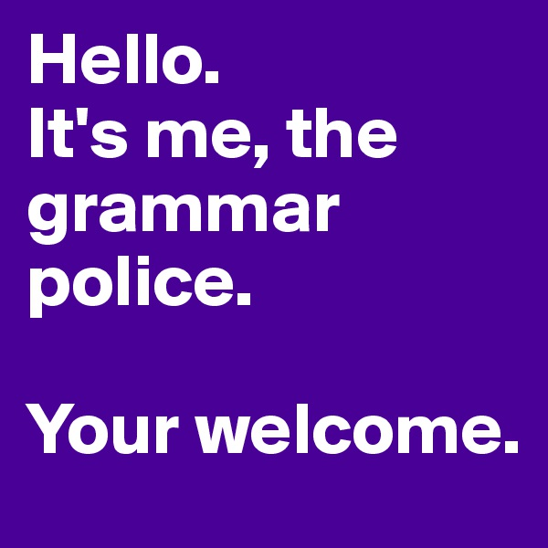 Hello.  It's me, the grammar police.   Your welcome.