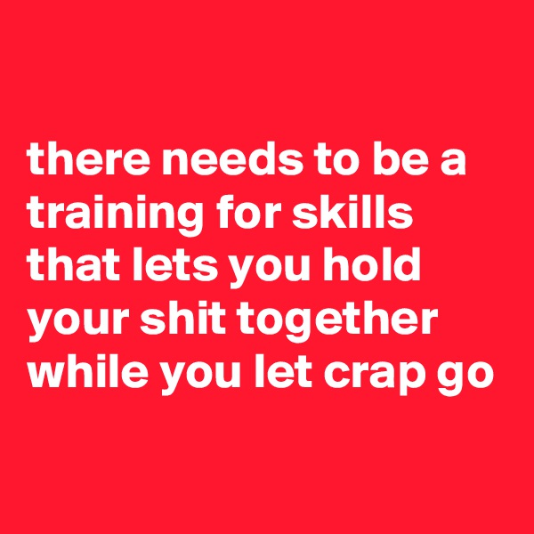 there needs to be a training for skills that lets you hold your shit together while you let crap go