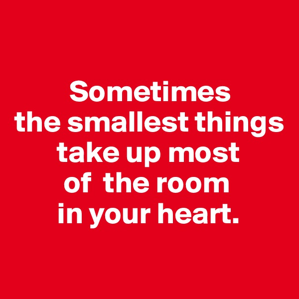 Sometimes the smallest things        take up most         of  the room        in your heart.