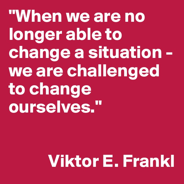 """""""When we are no longer able to change a situation - we are challenged to change ourselves.""""              Viktor E. Frankl"""