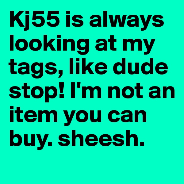 Kj55 is always looking at my tags, like dude stop! I'm not an item you can buy. sheesh.