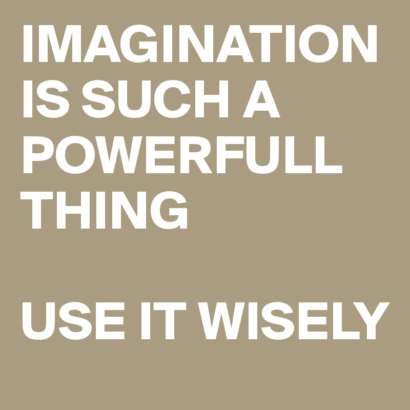 IMAGINATION IS SUCH A POWERFULL THING  USE IT WISELY