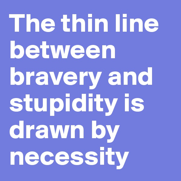 The thin line between bravery and stupidity is drawn by necessity