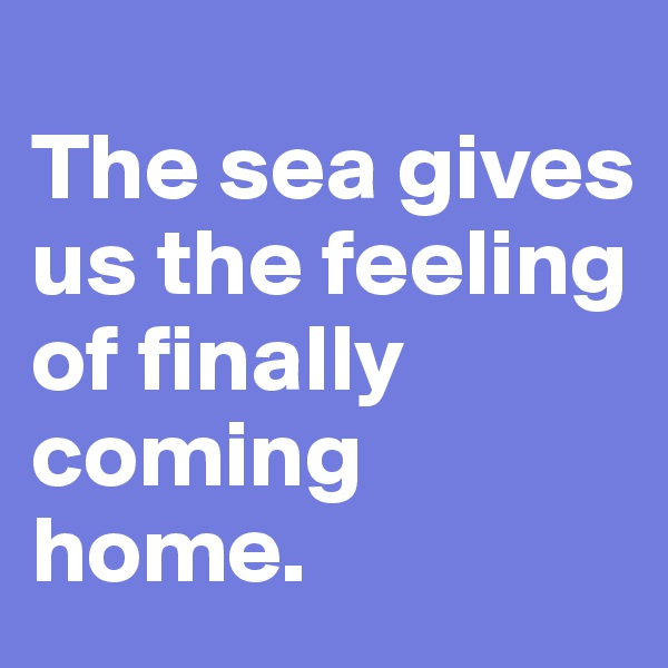 The sea gives us the feeling of finally coming home.