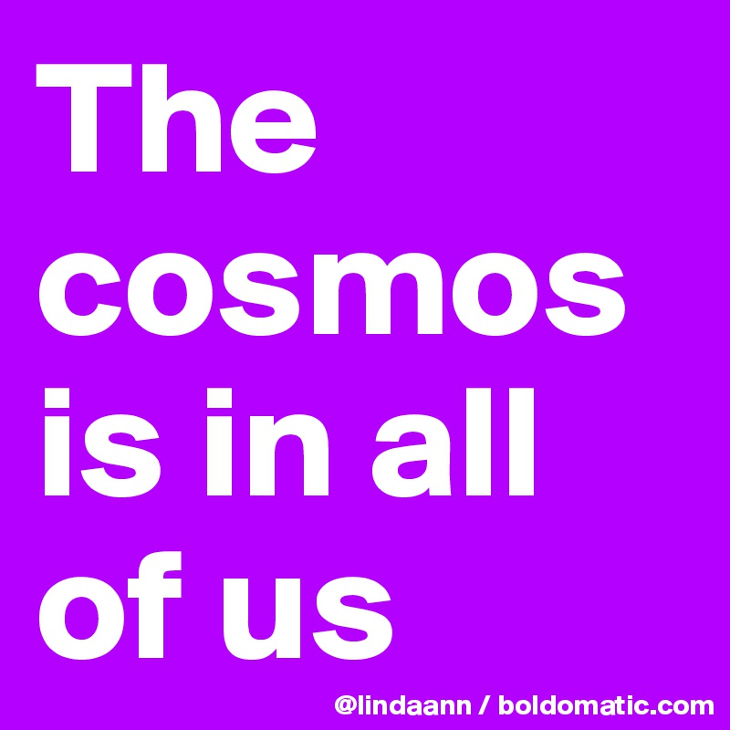 The cosmos is in all of us