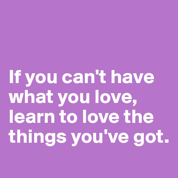 If you can't have what you love, learn to love the things you've got.