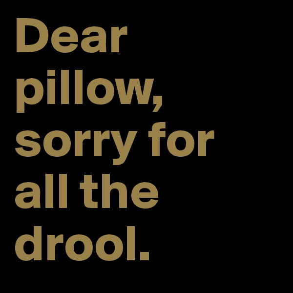 Dear pillow, sorry for all the drool.
