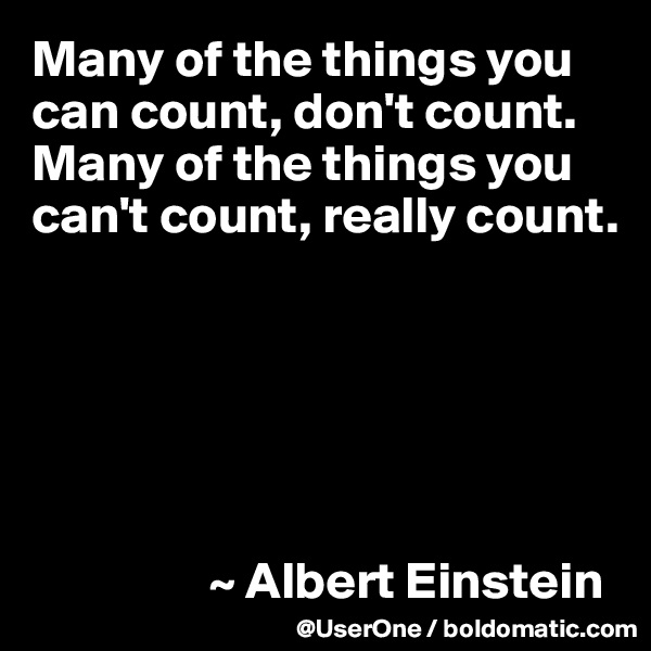 Many of the things you can count, don't count. Many of the things you can't count, really count.                        ~ Albert Einstein