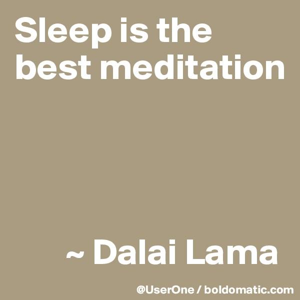 Sleep is the best meditation            ~ Dalai Lama