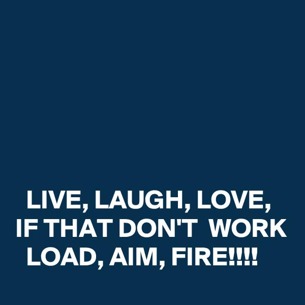 LIVE, LAUGH, LOVE,   IF THAT DON'T  WORK   LOAD, AIM, FIRE!!!!