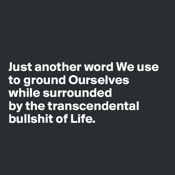 Just another word We use to ground Ourselves  while surrounded  by the transcendental bullshit of Life.
