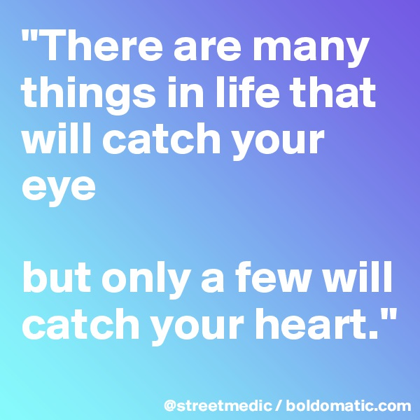 """There are many things in life that will catch your eye  but only a few will catch your heart."""