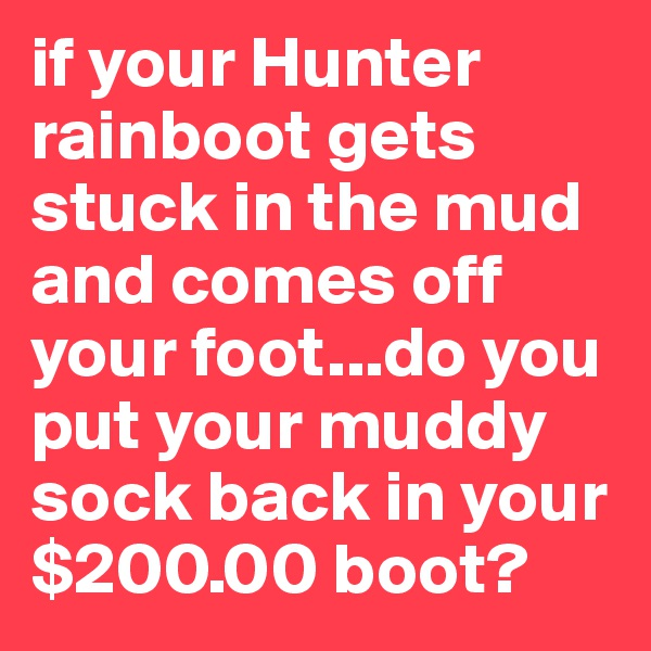 if your Hunter rainboot gets stuck in the mud and comes off your foot...do you put your muddy sock back in your $200.00 boot?