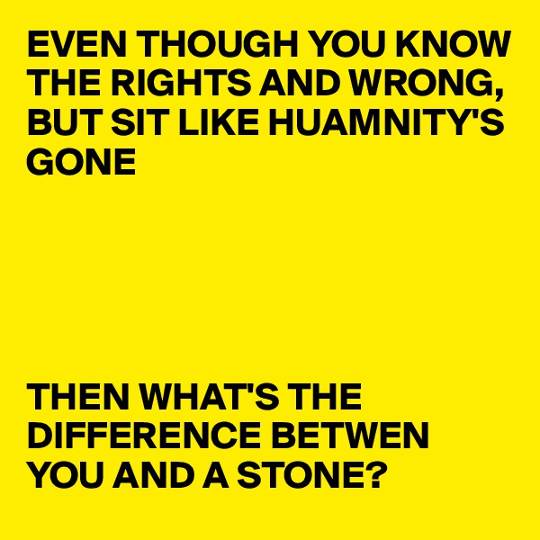 EVEN THOUGH YOU KNOW THE RIGHTS AND WRONG, BUT SIT LIKE HUAMNITY'S GONE      THEN WHAT'S THE DIFFERENCE BETWEN YOU AND A STONE?