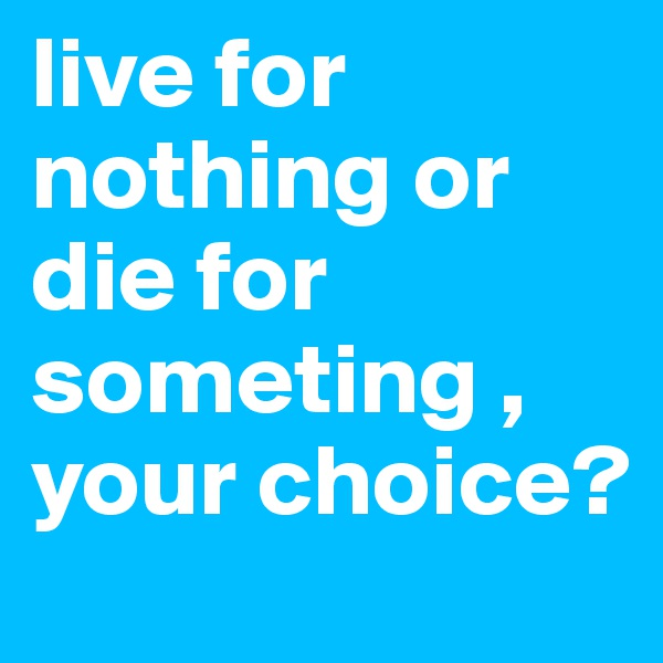 live for nothing or die for someting , your choice?