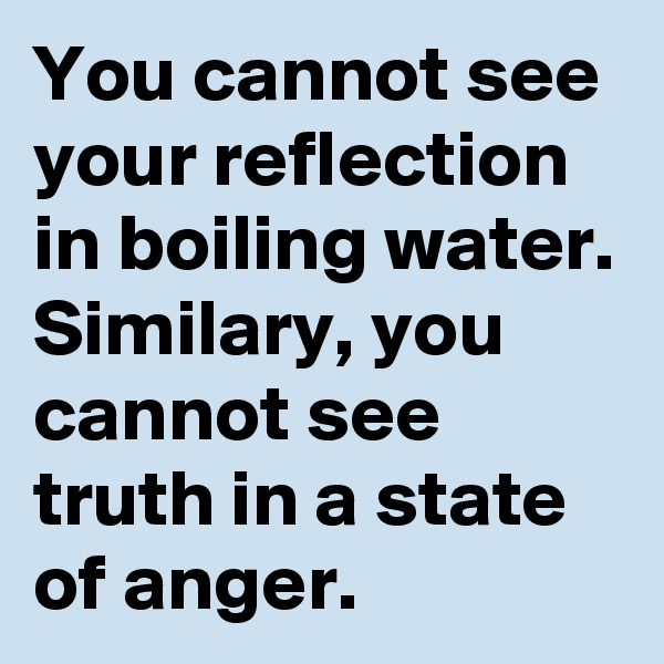 You cannot see your reflection in boiling water. Similary, you cannot see truth in a state of anger.