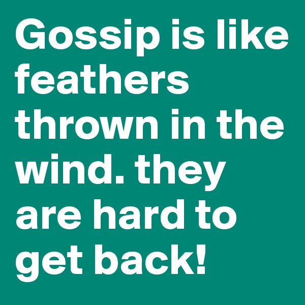 Gossip is like feathers thrown in the wind. they are hard to get back!