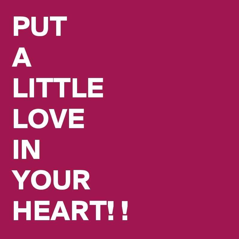 PUT  A  LITTLE  LOVE  IN  YOUR  HEART! !