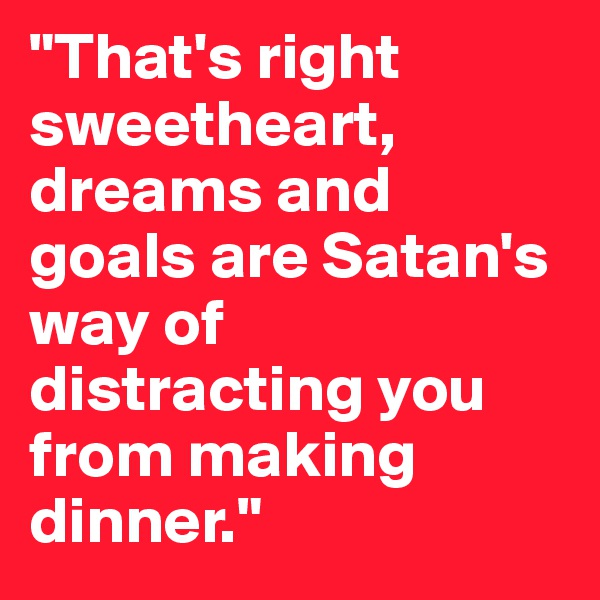 """""""That's right sweetheart, dreams and goals are Satan's way of distracting you from making dinner."""""""