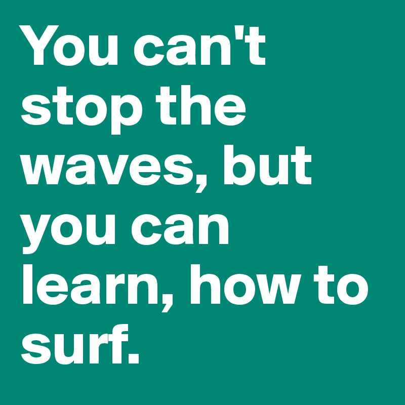 You can't stop the waves, but you can learn, how to surf.