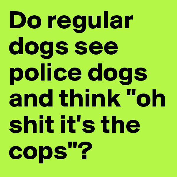 """Do regular dogs see police dogs and think """"oh shit it's the cops""""?"""