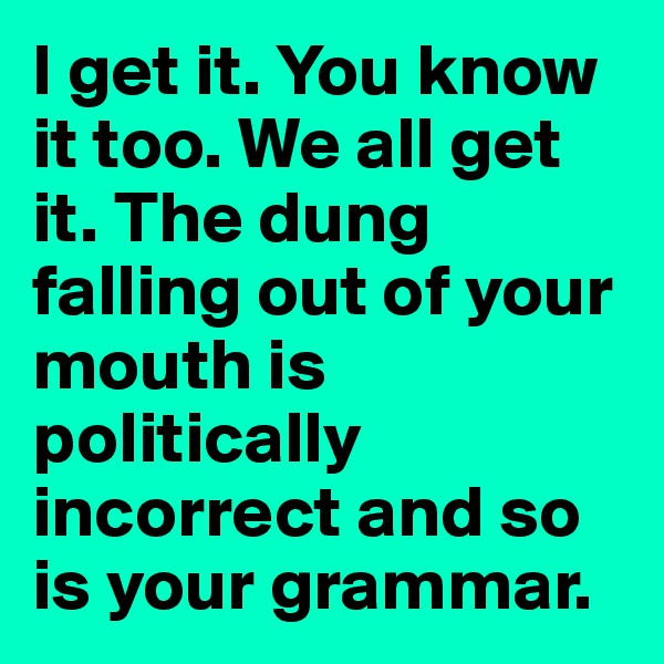 I get it. You know it too. We all get it. The dung falling out of your mouth is politically incorrect and so is your grammar.