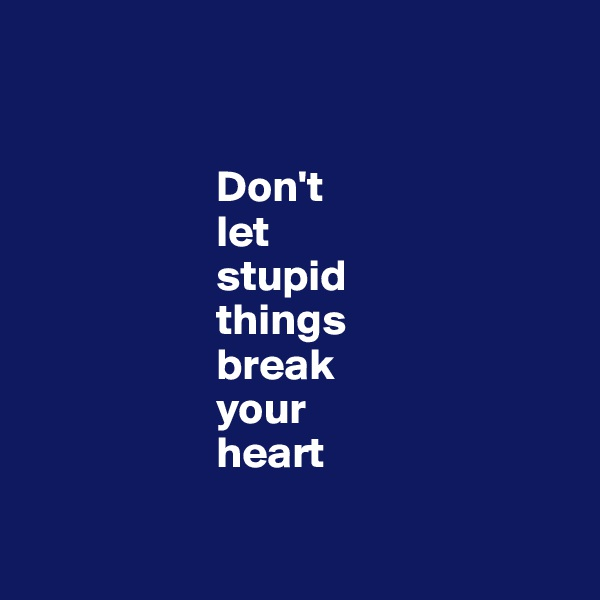 Don't                      let                       stupid                       things                       break                       your                       heart