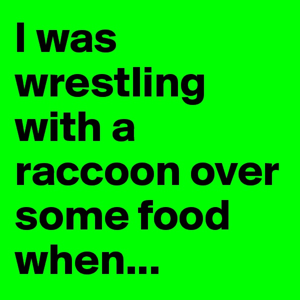I was wrestling with a raccoon over some food when...