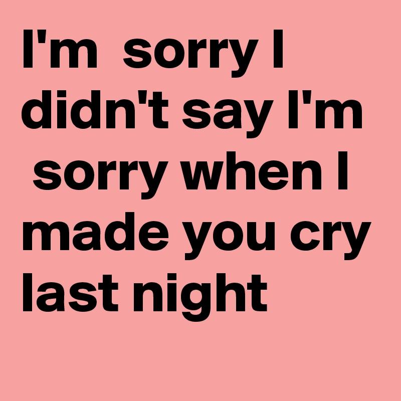 The Czars – Sorry I Made You Cry