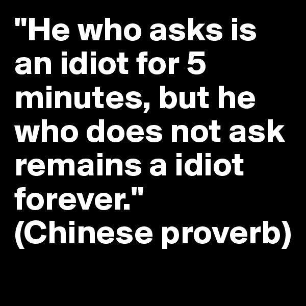 """""""He who asks is an idiot for 5 minutes, but he who does not ask remains a idiot forever."""" (Chinese proverb)"""