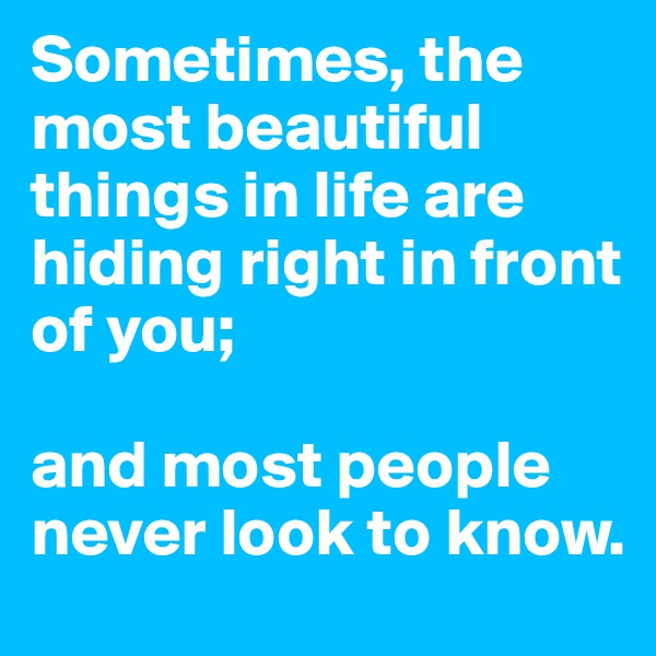 Sometimes, the most beautiful things in life are hiding right in front of you;  and most people never look to know.