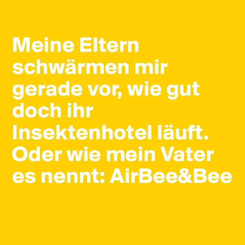 Meine Eltern schwärmen mir gerade vor, wie gut doch ihr Insektenhotel läuft. Oder wie mein Vater es nennt: AirBee&Bee