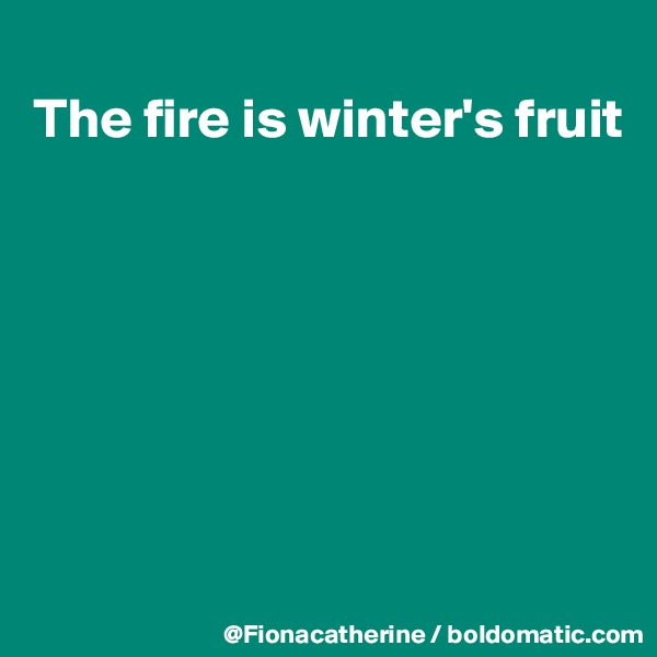 The fire is winter's fruit