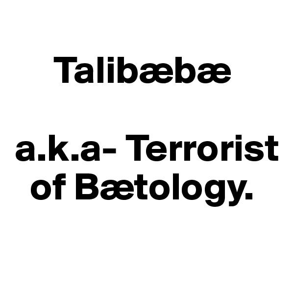Talibæbæ  a.k.a- Terrorist       of Bætology.