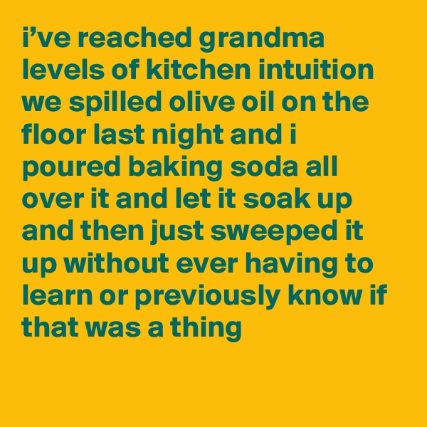 i've reached grandma levels of kitchen intuition we spilled olive oil on the floor last night and i poured baking soda all over it and let it soak up and then just sweeped it up without ever having to learn or previously know if that was a thing
