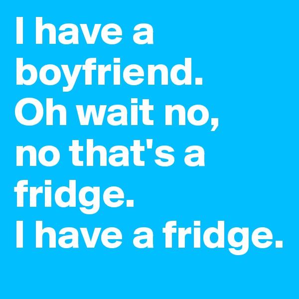 I have a boyfriend. Oh wait no, no that's a fridge. I have a fridge.