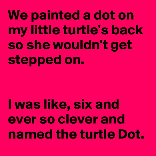 We painted a dot on my little turtle's back so she wouldn't get stepped on.    I was like, six and ever so clever and named the turtle Dot.