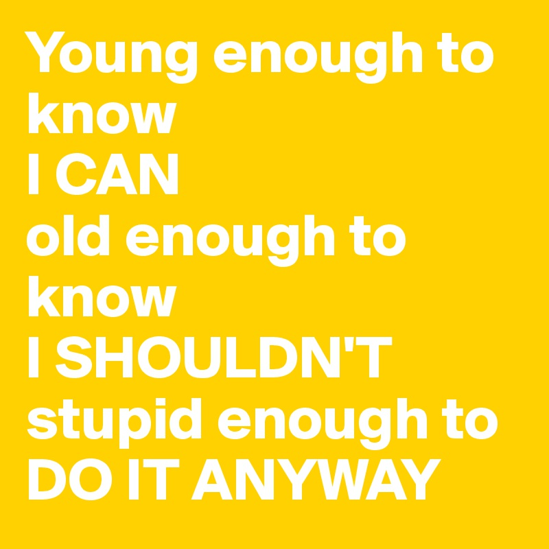 Young enough to know I CAN old enough to know  I SHOULDN'T  stupid enough to DO IT ANYWAY