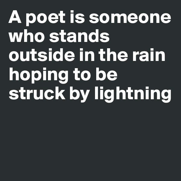 A poet is someone who stands outside in the rain hoping to be struck by lightning