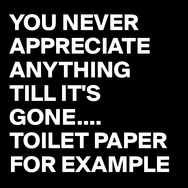 YOU NEVER APPRECIATE ANYTHING TILL IT'S GONE.... TOILET PAPER  FOR EXAMPLE