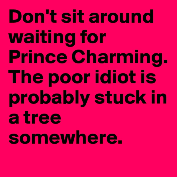 Don't sit around waiting for Prince Charming. The poor idiot is probably stuck in a tree somewhere.