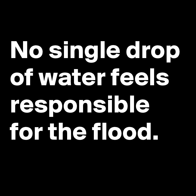 No single drop of water feels responsible for the flood.